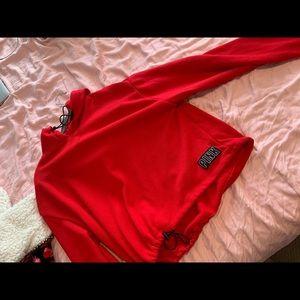 PInk red crop sweater